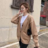 毛衣開衫女秋冬季新款韓國寬鬆慵懶chic純色簡約針織衫外套外搭女 9號潮人館