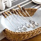 居家家不銹鋼長柄勺子叉子可愛學生小湯勺創意家用便攜餐具水果叉月光節88折