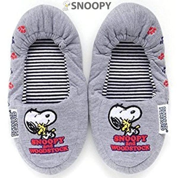 日本限定 SNOOPY 史努比 機上 旅行隨身繫帶式 刺繡摺疊 休閒鞋 附收納袋 (灰)