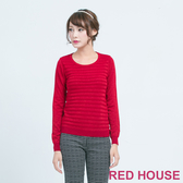 RED HOUSE-蕾赫斯-金蔥條紋針織上衣(紅色)