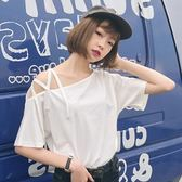 EASON SHOP(GU7054)性感露肩斜肩交叉繫帶設計吊帶短袖T恤女上衣服落肩五分袖寬鬆內搭衫素色棉T恤