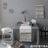 MOMO莫語ins風北歐摩洛哥幾何黑白流蘇簇絨桌旗桌布餐桌布阿莫玲igo    橙子精品