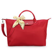 LONGCHAMP 短提把兩用大型厚尼龍水餃包(紅色-含帕巾)480167-379