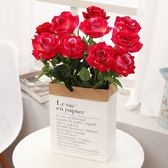 仿真玫瑰花假花套裝客廳餐桌茶幾落地裝飾花絹花花束擺件擺設花藝「爆米花」