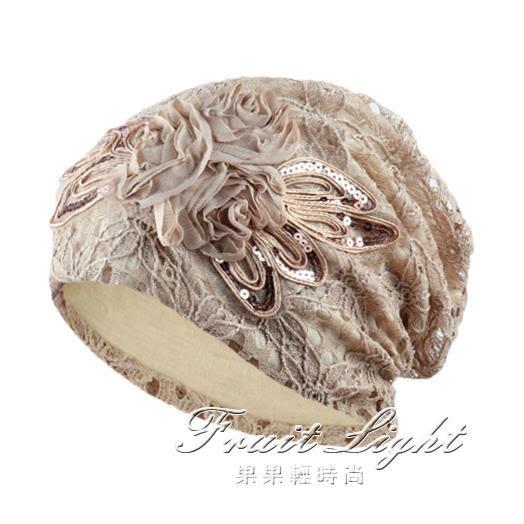 包頭帽女時尚蕾絲花朵帽子女韓版薄款光頭帽堆堆帽月子套頭帽【果果新品】