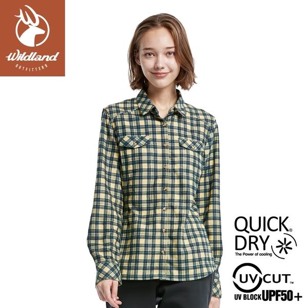 【Wildland 荒野 女 彈性針織格紋保暖襯衫《藤黃》】0A82203/休閒服/格紋衫/運動衣/薄外套