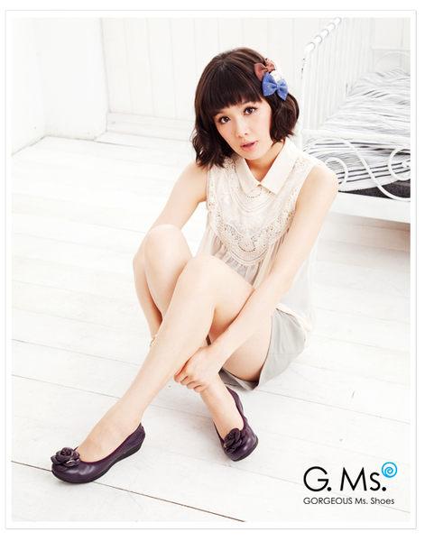 G.Ms.  經典山茶花‧柔軟彎折厚底坡跟牛皮娃娃鞋‧愛情魔芋