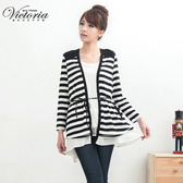 Victoria 雪紡層次條紋外套-女-白色-V3505680
