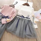 長袖洋裝 小童螺紋兩袖花朵灰色網沙裙 W77015 AIB小舖
