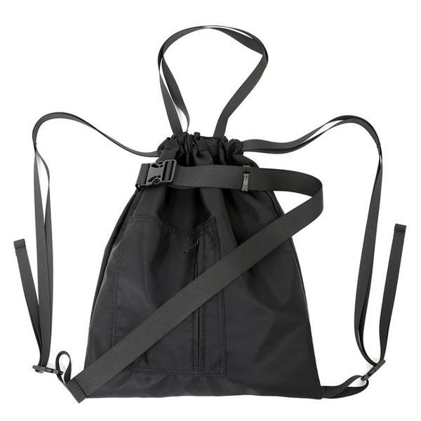 尼龍後背包束口袋尼龍運動健身包旅行袋男女中性側背手提抽繩包書包後背背潮 爾碩數位