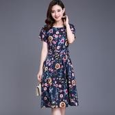 中老年洋裝大尺碼夏季新款四十歲女人中年女裝胖媽媽過膝棉麻裙子 XL-4XL