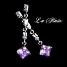 【La Finia】經典---水晶耳環(紫蘿蘭)