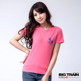 BIG TRAIN 花塘金魚V領TEE-女-粉桃