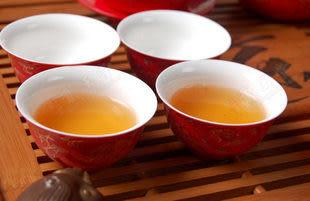 紅金絲牡丹茶具