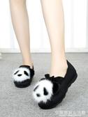 毛毛鞋女秋冬季新款老北京布鞋豆豆鞋熊貓加絨厚底一腳蹬外穿 完美居家生活館