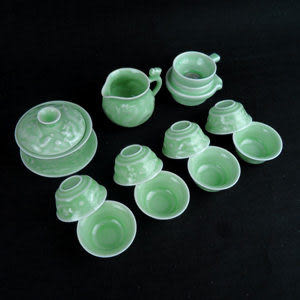 龍泉青瓷 浮雕龍茶具套裝