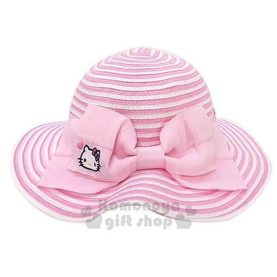 〔小禮堂〕Hello Kitty 可折疊兒童藤編圓頂草帽《粉.緞帶》編織帽.2019夏日兒童服飾 4901610-12964