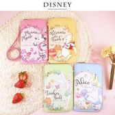 Disney迪士尼 花朵風皮革手機包/萬用包(6.2吋/可掛脖)
