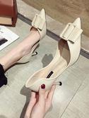 高跟鞋 單鞋女春款尖頭淺口金屬方扣高跟鞋韓版百搭中空細跟仙女鞋潮 曼慕衣櫃