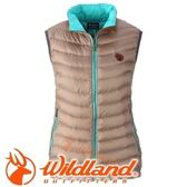 【Wildland 荒野 女款 700FP輕量羽絨背心 黃卡其】 0A32171/連帽外套/羽絨外套/保暖外套★滿額送