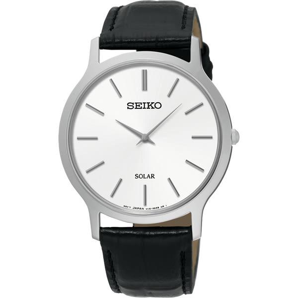 SEIKO 精工 SOLAR 太陽能日系經典手錶-白x黑/38mm V115-0BE0S(SUP873P1)