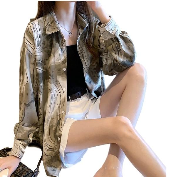 EASON SHOP(GW7470)韓版不規則油墨畫線條前排釦翻領開衫長袖花襯衫罩衫女上衣服落肩寬鬆防曬衫秋裝
