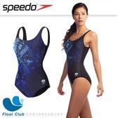 Speedo 女 運動連身泳裝 千年鷹號 黑/星際藍