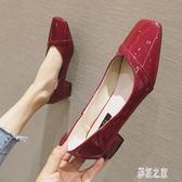 淺口粗跟單鞋 女2019秋季新款漆皮方頭低跟鞋女小跟紅色婚鞋 BT13956【彩虹之家】