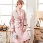 小三衣藏[88172-S]小香風兩件式粗紡編織呢外套搭短袖蝴蝶結洋裝(外套+洋裝)
