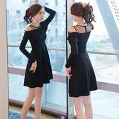 洋裝 婚紗禮服 秋裝女新款春秋長袖黑色連衣裙名媛氣質修身顯瘦蕾絲紅裙子