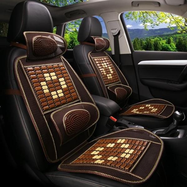 夏季木珠汽車坐墊竹片透氣珠子單片座墊四季涼墊椅墊單張按摩坐墊