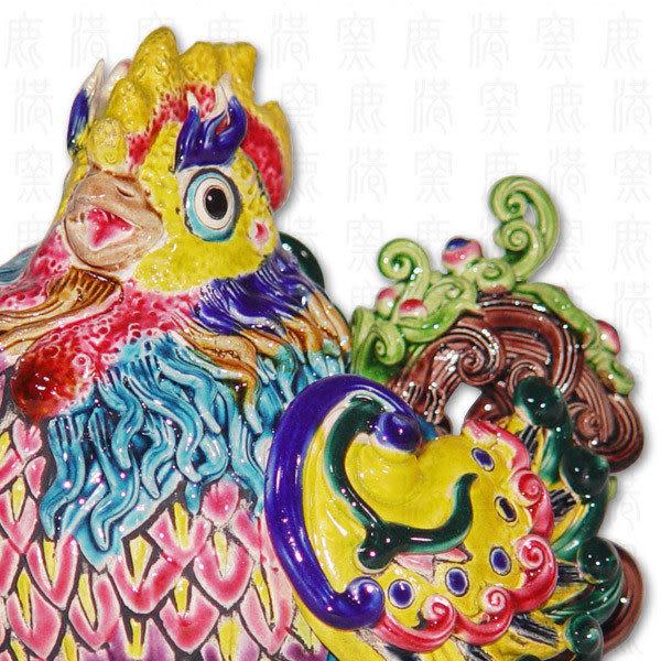 鹿港窯-居家開運商品-台灣國寶交趾陶M十二生肖-雞