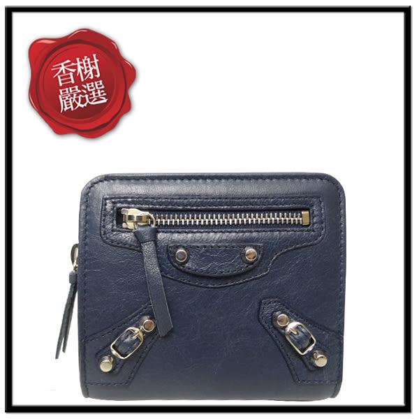 巴黎世家小銀扣短夾 藍色310699全新商品