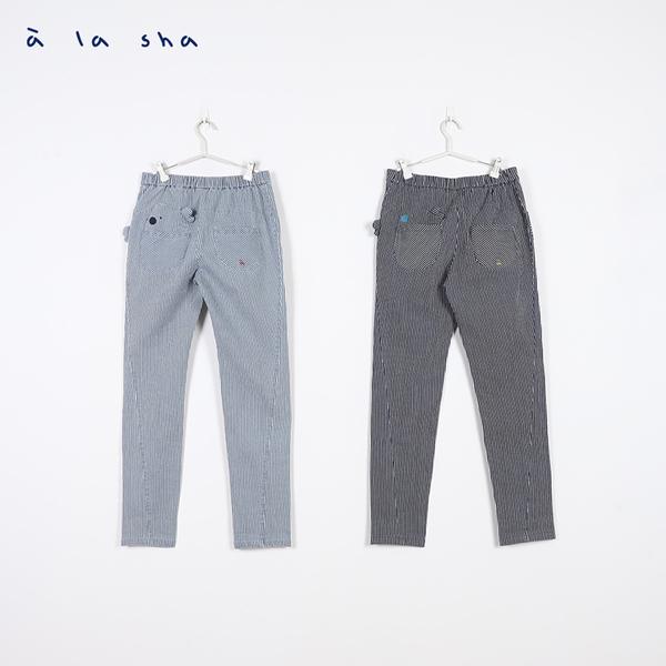 a la sha 牛仔條紋合身褲