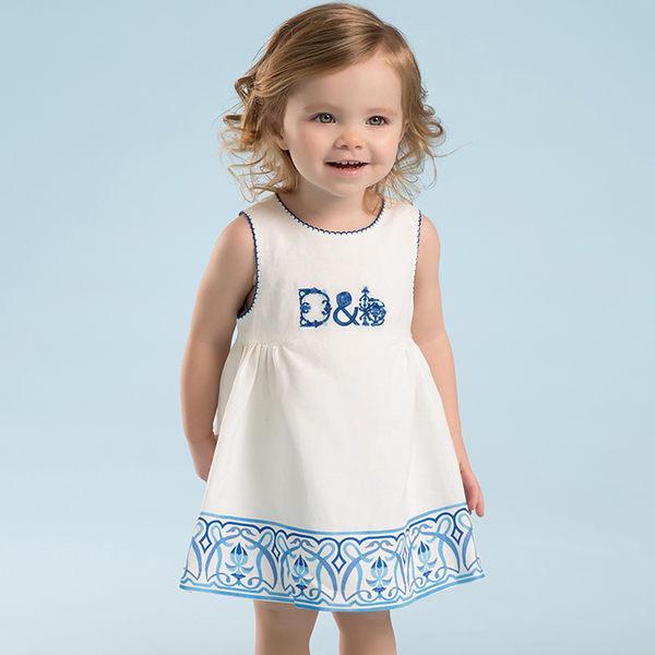 寶寶大童洋裝 DaveBella 字母刺繡無袖洋裝 DB3360