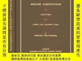 二手書博民逛書店Vindication罕見Of The English Constitution In A Letter To A