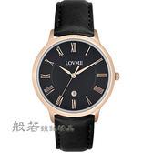 LOVME  羅馬風時尚手錶-玫瑰金x黑