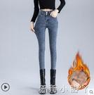 加絨牛仔褲女2020年秋冬新款高腰修身加厚顯瘦緊身黑色小腳鉛筆褲 蘿莉新品