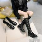 紐扣長筒馬丁靴女粗跟秋冬季新款圓頭厚底大碼長靴側拉鏈女靴 快速出貨