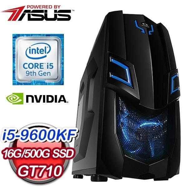 【南紡購物中心】華碩系列【火牛烈崩】i5-9600KF六核 GT710 電玩電腦(16G/500G SSD)