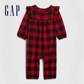 Gap嬰兒 時尚格紋設計一體式包屁衣 616138-紅色方格