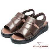 CUMAR 舒適真皮‧經典魔術貼舒適皮涼鞋-咖啡色