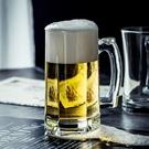 酒杯  青蘋果精釀帶把啤酒杯透明鋼化玻璃水杯泡茶杯子飲料杯家用扎啤杯