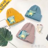 男女兒童毛線帽恐龍寶寶帽子秋冬季月歲保暖小孩套頭帽純色『快速出貨』