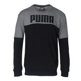 Puma REBEL系列 男 灰 黑 撞色 圓領衫 棉質長袖上衣 長袖T恤 大學T 毛圈棉 衛衣 59462231