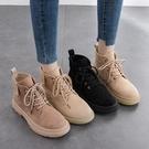 磨砂馬丁靴女英倫風2020年新款2021春季春秋單靴爆款ins潮短靴子一米陽光