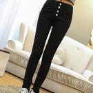 窄管褲 春夏白色牛仔褲女 正韓薄款緊身顯瘦高腰九分褲 彈力鉛筆小腳褲子-Ballet朵朵