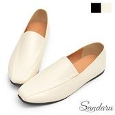 樂福鞋 超軟皮革微方頭摺線平底鞋-米