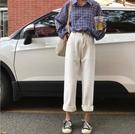 秋季韓版寬鬆九分高腰牛仔褲女新款百搭學生顯瘦白色直筒褲子【全館免運】