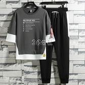 男士套裝夏季休閒帥氣薄款短袖潮流韓版青少學生運動一套衣服男